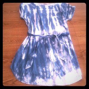 Loft blue and white tie dye dress